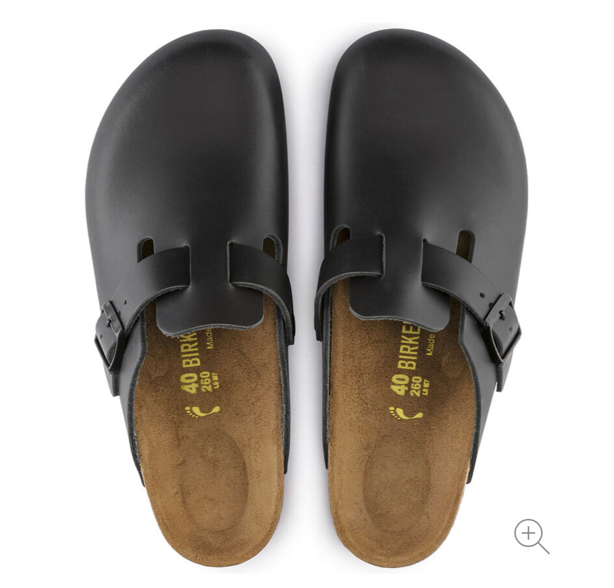 Birkenstock Boston Black Smooth Leather Made In Germany