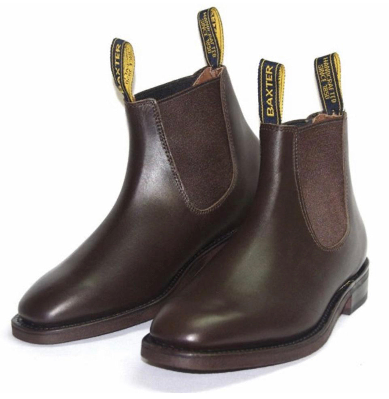 Baxter Saddler Walnut Brown One Piece Leather Rubber Sole Chelsea Boot Made In Australia