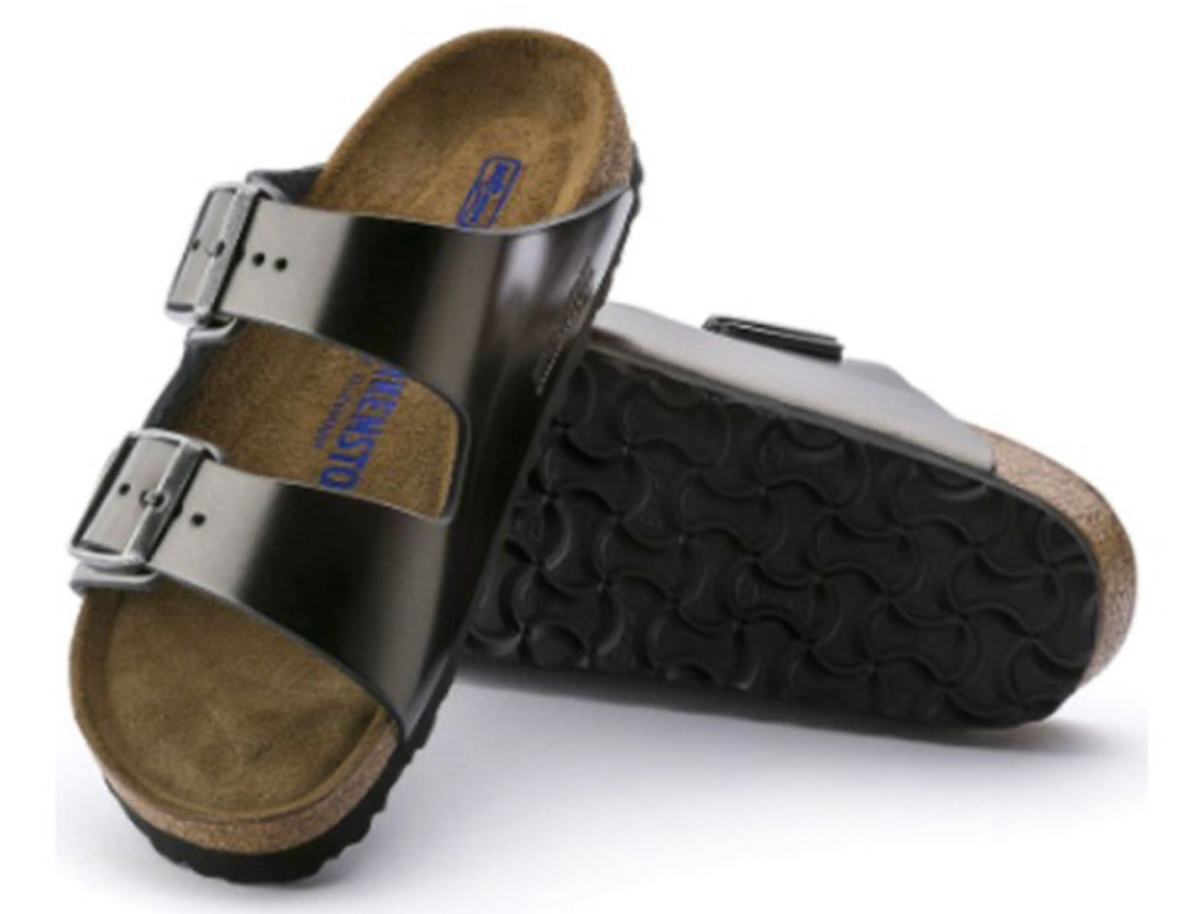 Birkenstock Arizona Metallic Anthracite Leather Soft Footbed Made In Germany