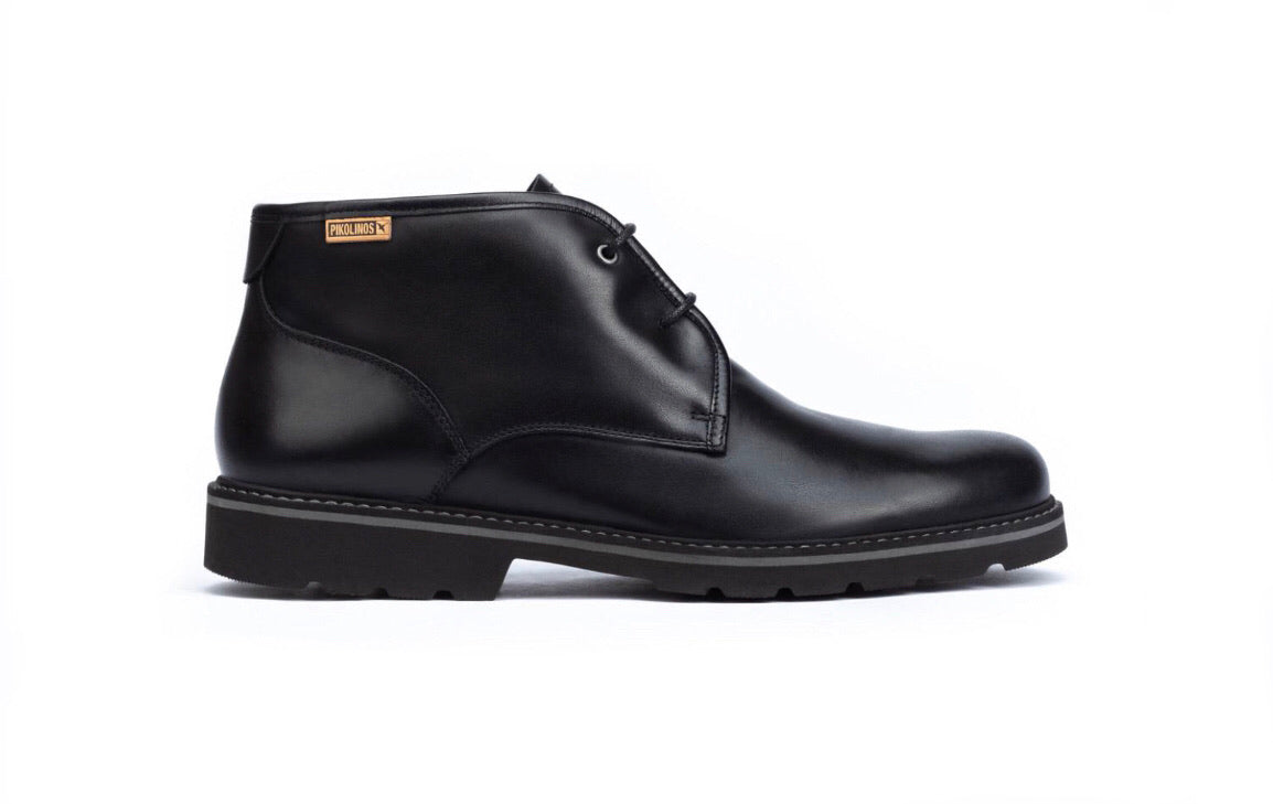 Pikolinos Bilbao M6E-8320 Black 2 Eyelet Boots Made In Spain