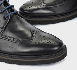 Pikolinos M9M-4226C1 Black Mens Brogue 4 Eyelet Lace Up Made In Spain
