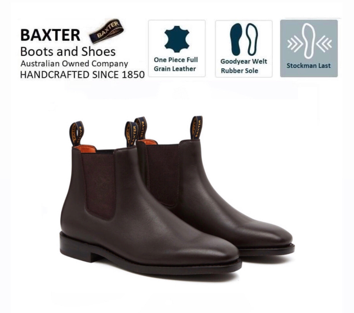 Baxter Goulburn Brown One Piece Rubber Sole Chelsea Dress Boot