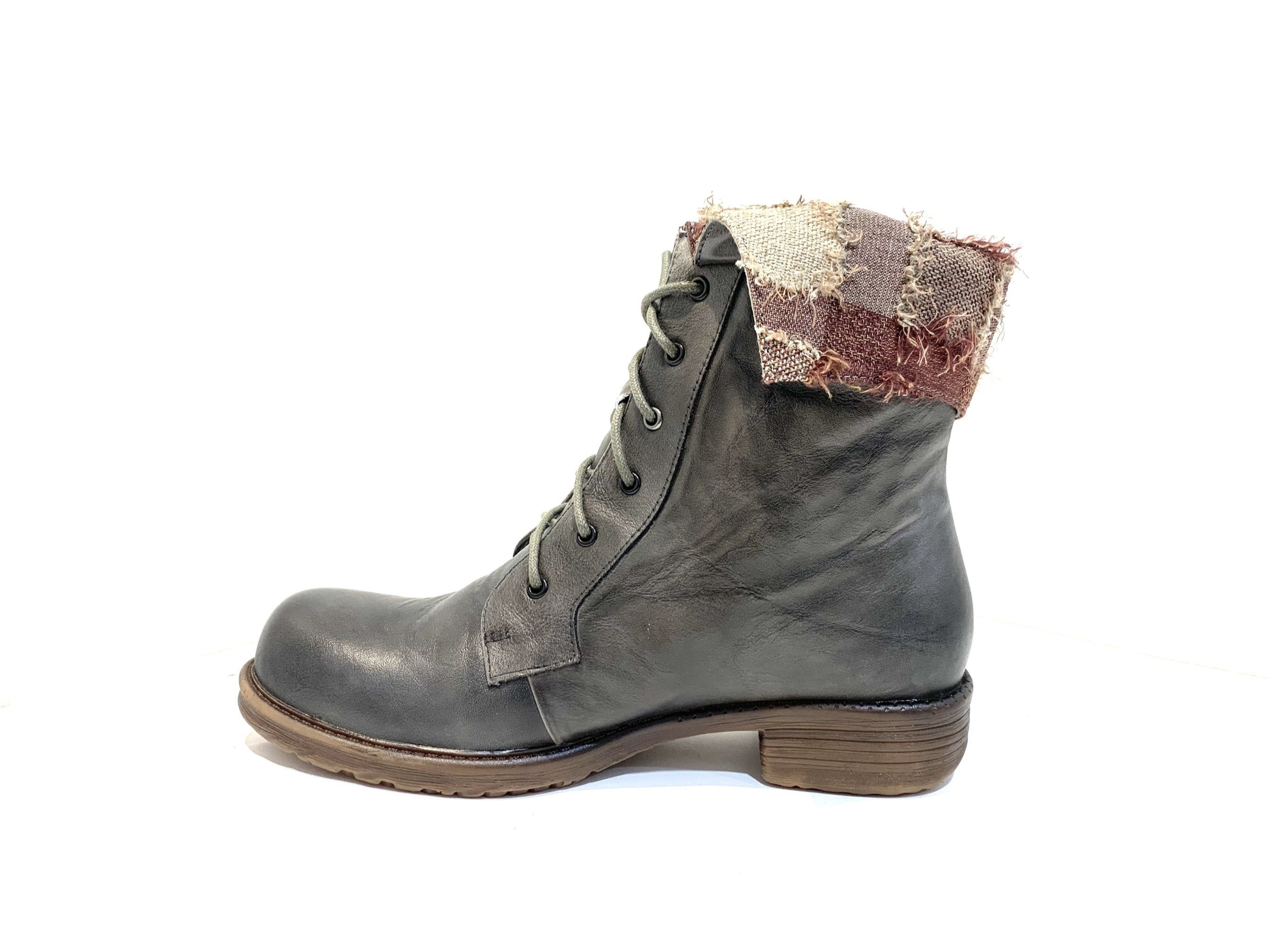 Minki Ladies Boots Cam Charcoal Grey Lace Up 6 Eyelet Boot