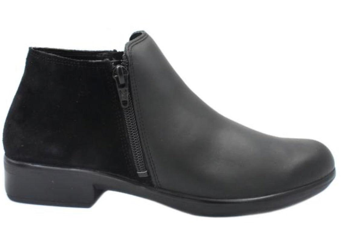 Naot Helm Black Suede Combo Double Zip Ankle Boot Made In Israel