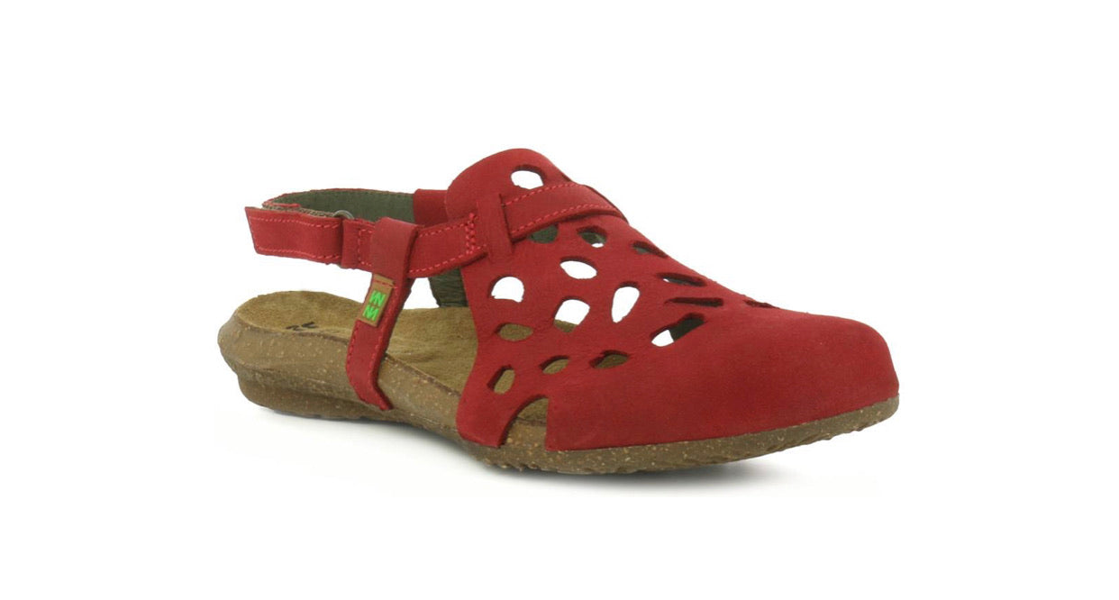 El Naturalista 5063 Tibet Red Flats Sandals Made In Spain