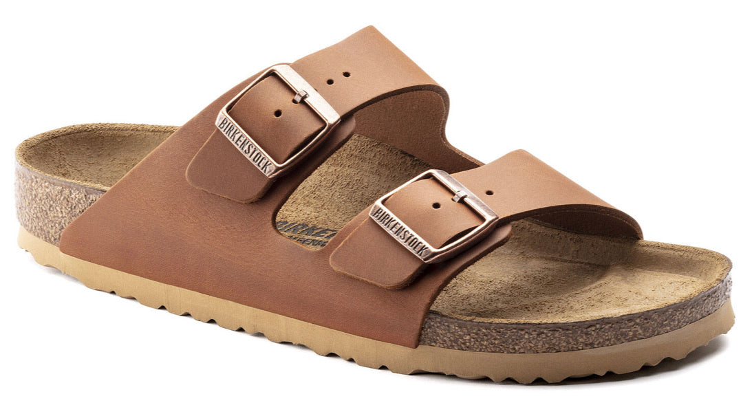 Birkenstock Arizona Antique Cognac Natural Leather Made In Germany