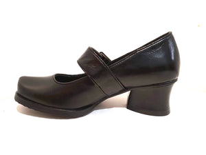 Minki Vicki Black Ladies Court Shoe Velcro Buckle Strap