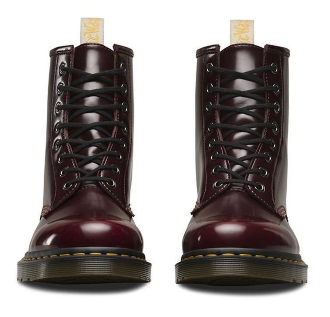 Dr. Martens 1460 Cherry Red Oxford Rub Off Vegan Ankle 8 Eyelet Boot
