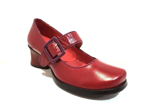 Minki Vicki Red Ladies Court Shoe Velcro Buckle Strap