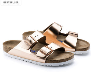 Birkenstock Arizona Metallic Copper Soft Footbed Made In Germany