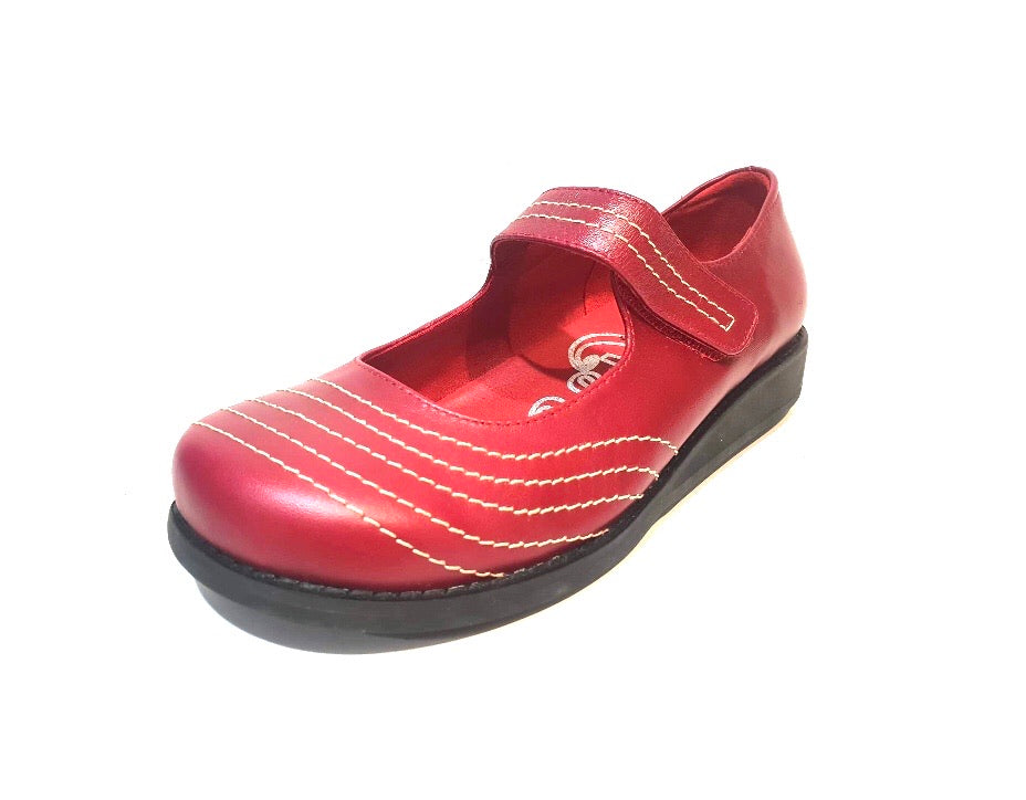 Minki Madge Red Ladies Mary Jane Velcro Strap