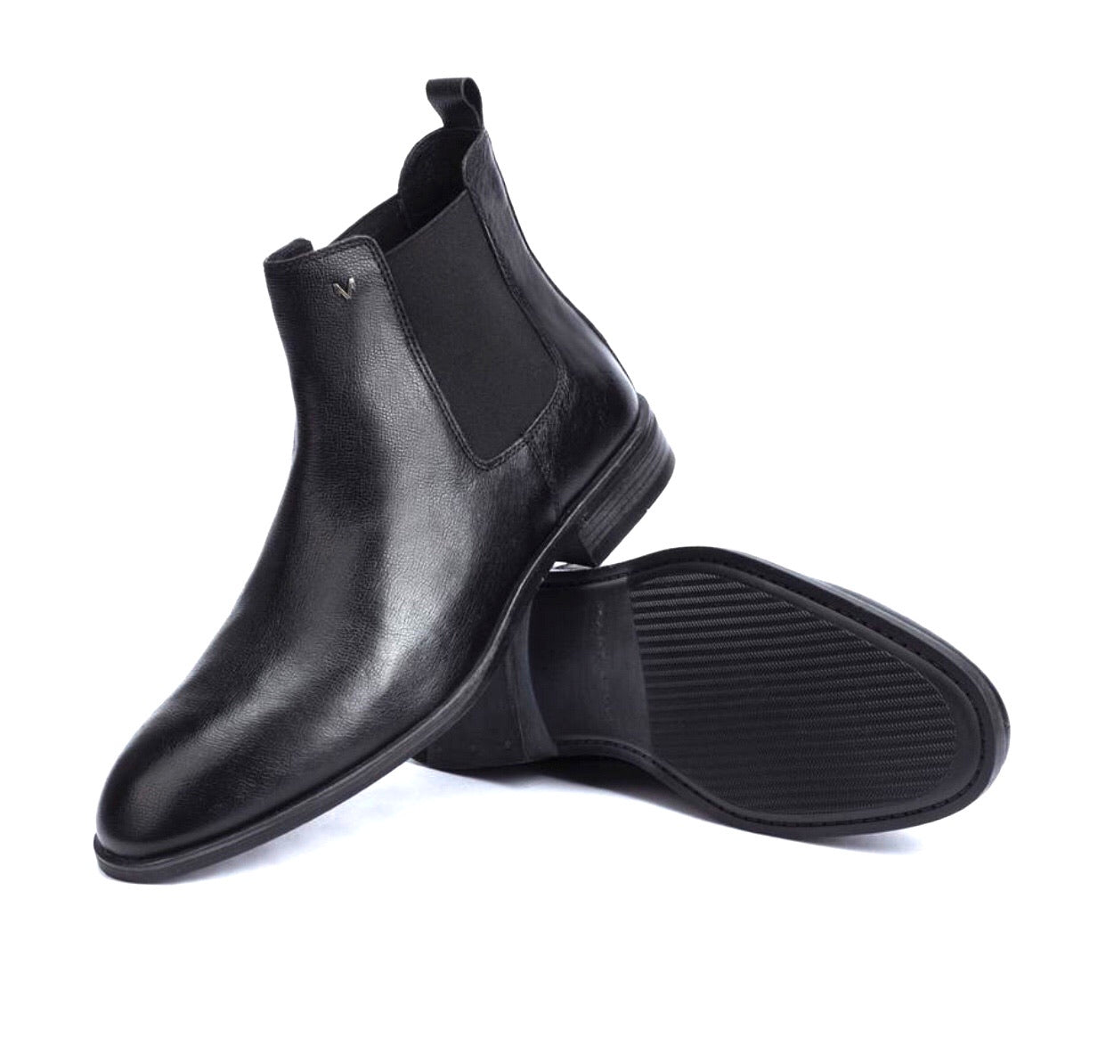 Martinelli 1456-2540R Warren Black Leather Chelsea Boot Made In Spain