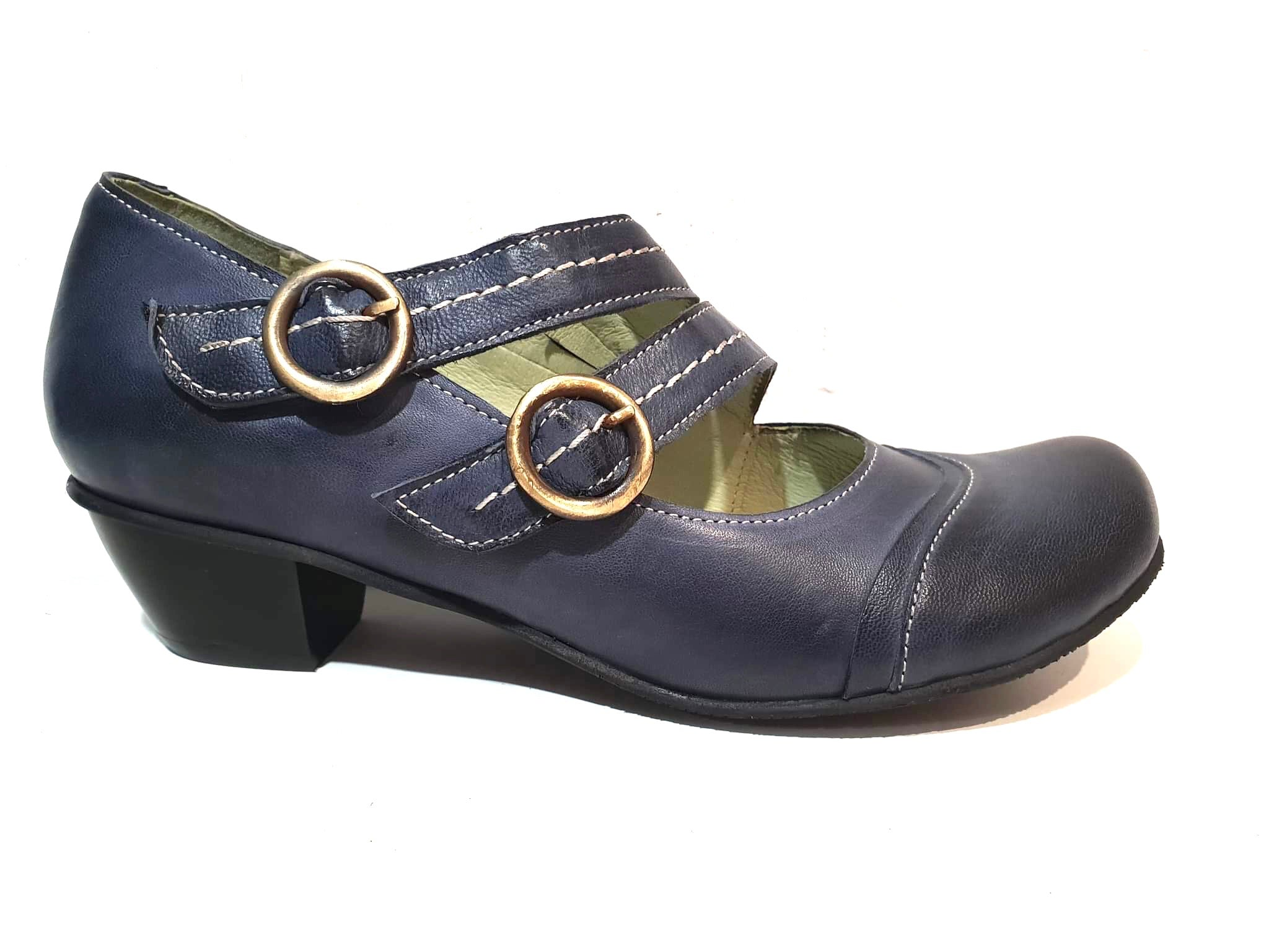 Mentha Alt Blue Leather Women's Court Shoes Mary Jane Double Buckle Velcro Made In Portugal