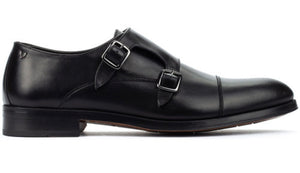 Martinelli 1492-2632PYM Black Empire Leather Monk Shoes Made In Spain