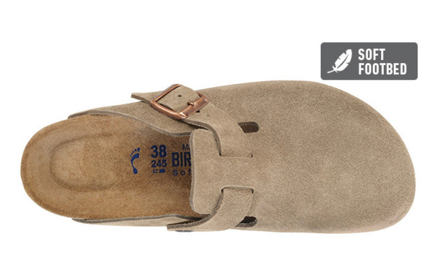 Birkenstock Boston Taupe Suede Soft Footbed Made In Germany