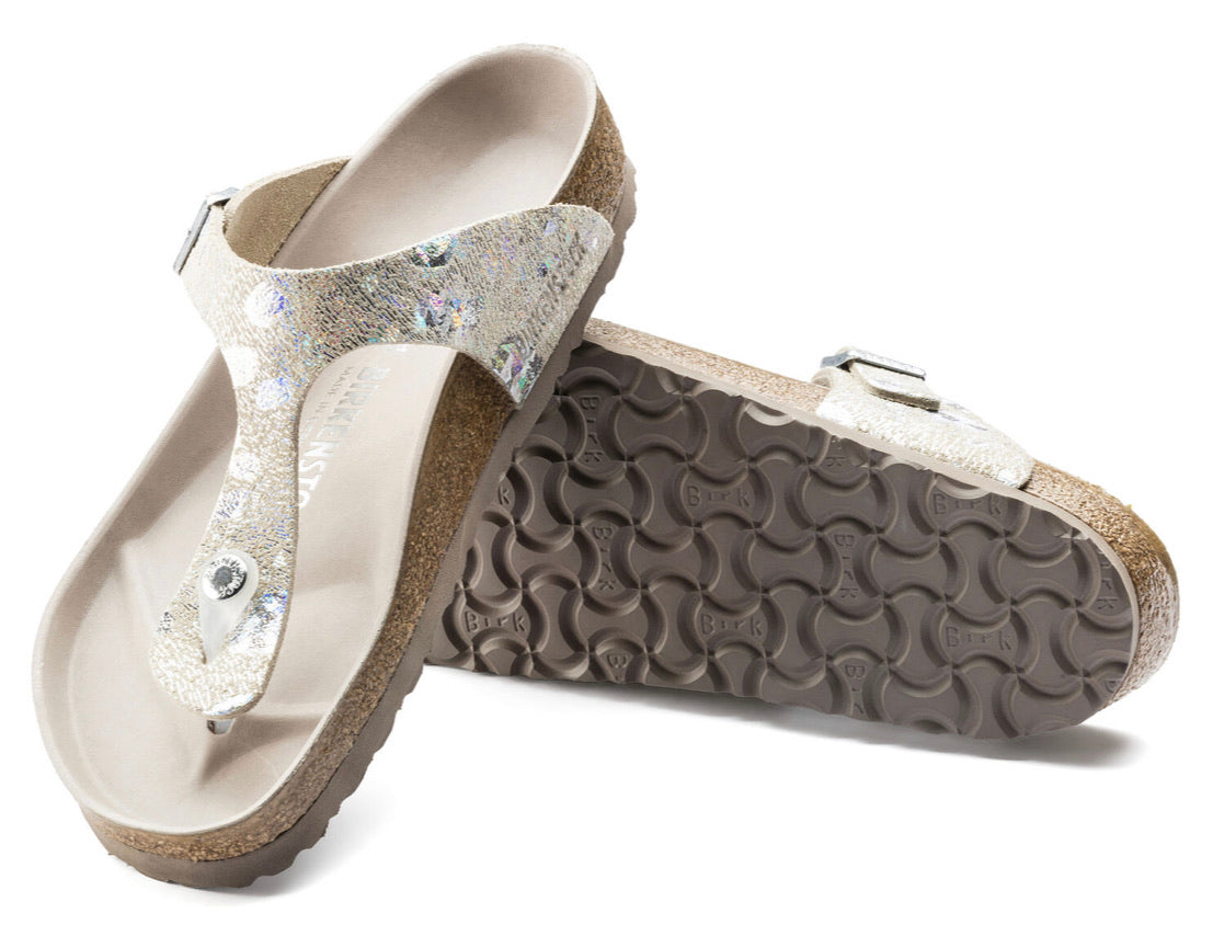 Birkenstck Gizeh Spotted Metallic Silver Leather Made In Germany