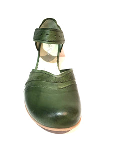 Mentha Andie Green Leather Women's Court Shoes Mary Jane Velcro Made In Portugal
