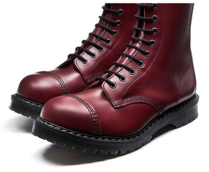 Solovair Cherry Red Steel Toe 11 Eyelet Boot Made In England