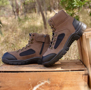 Rossi Ridge Brown Steel Toe Ankle Work Boot Zip Made In Australia