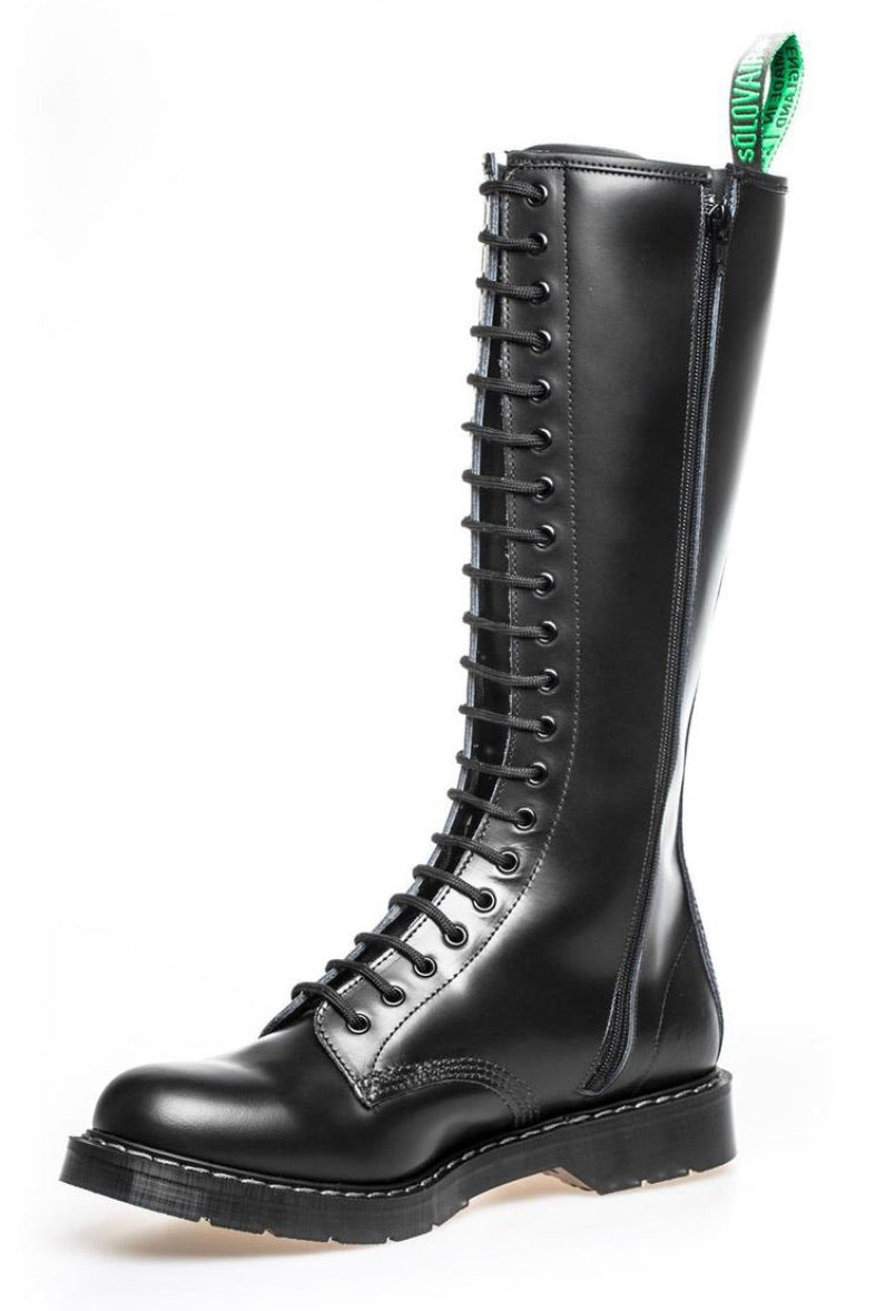 Solovair Black Hi-Shine 20 Eyelet Zip Knee High Boot Made In England