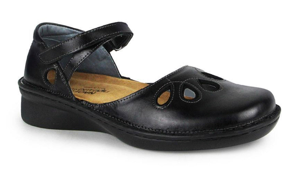 Naot Motiff Black Madras Leather Mary Jane Velcro Made In Israel