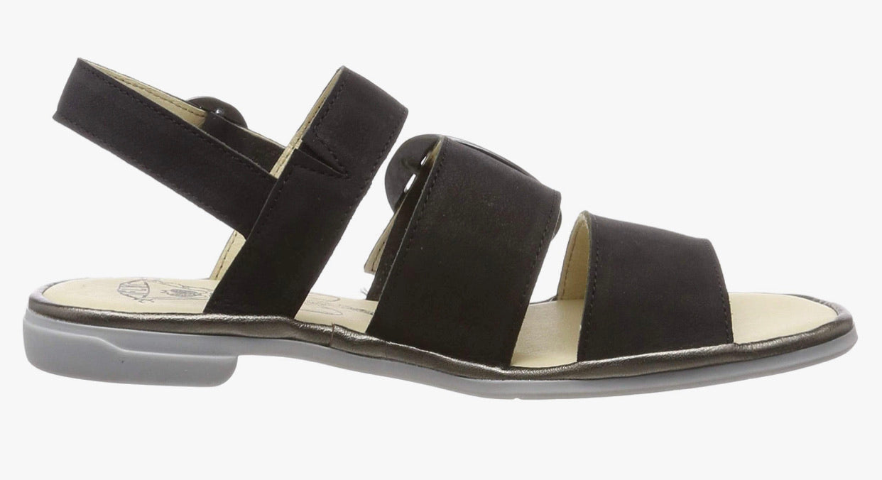 Fly London CODO006FLY Black/Bronze Cupi/Idra Women's Flats Sandals Made In Portugal