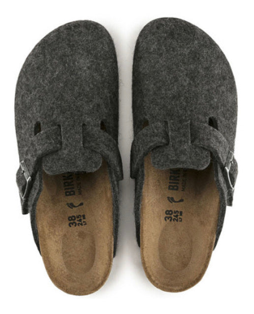 Birkenstock Boston Anthracite Wool Felt Made In Germany