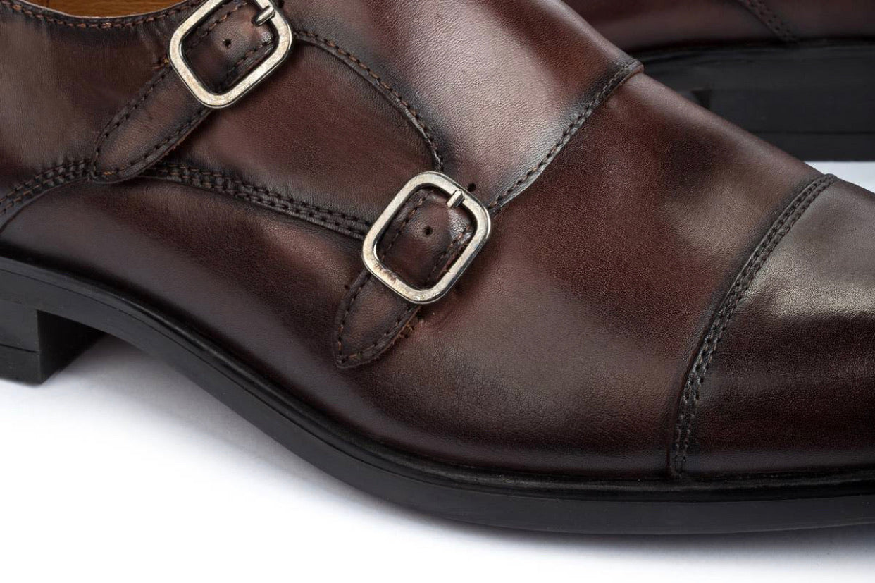 Pikolinos M7J-3148 Olmo Brown Mens Double Buckle Monk Made In Spain