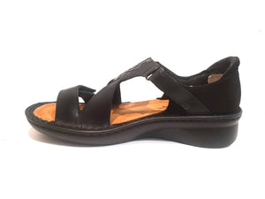 Naot Figaro Black Raven Metallic Black Combo Leather Ladies Sandals Made In Israel