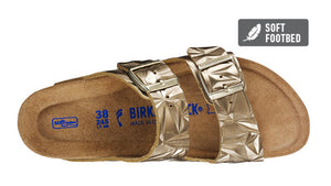 Birkenstock Arizona Spectral Platin Gold Metallic Leather Soft Footbed Made In Germany