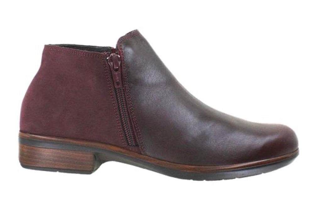 Naot Ladies Boots Helm Violet Bordeaux Combo Double Zip Ankle Boot Made In Israel