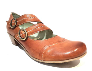 Mentha Alt Cognac Leather Women's Court Shoes Mary Jane Double Buckle Velcro Made In Portugal