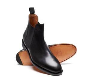 Solovair NPS Stanley Black Calf Chelsea Boot Leather Sole Made In England