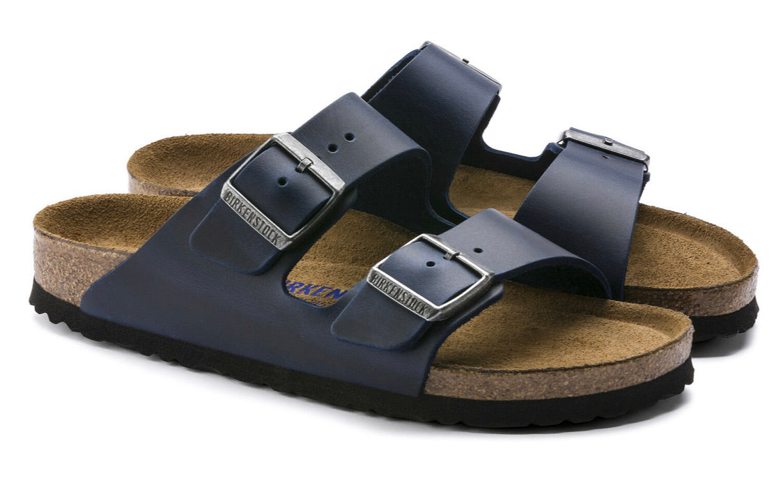 Birkenstock Arizona Blue Oiled Leather Soft Footbed Made In Germany