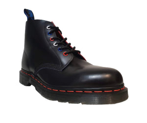 Dr. Martens 101 Black Smooth Red Stitching Ankle 6 Eyelet Boot