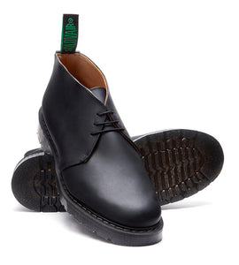 Solovair Black Greasy 3 Eyelet Ankle Chukka Boot Made In England