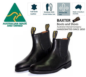 Baxter Patrol Black Rubber Sole Elastic Sided Made In Australia