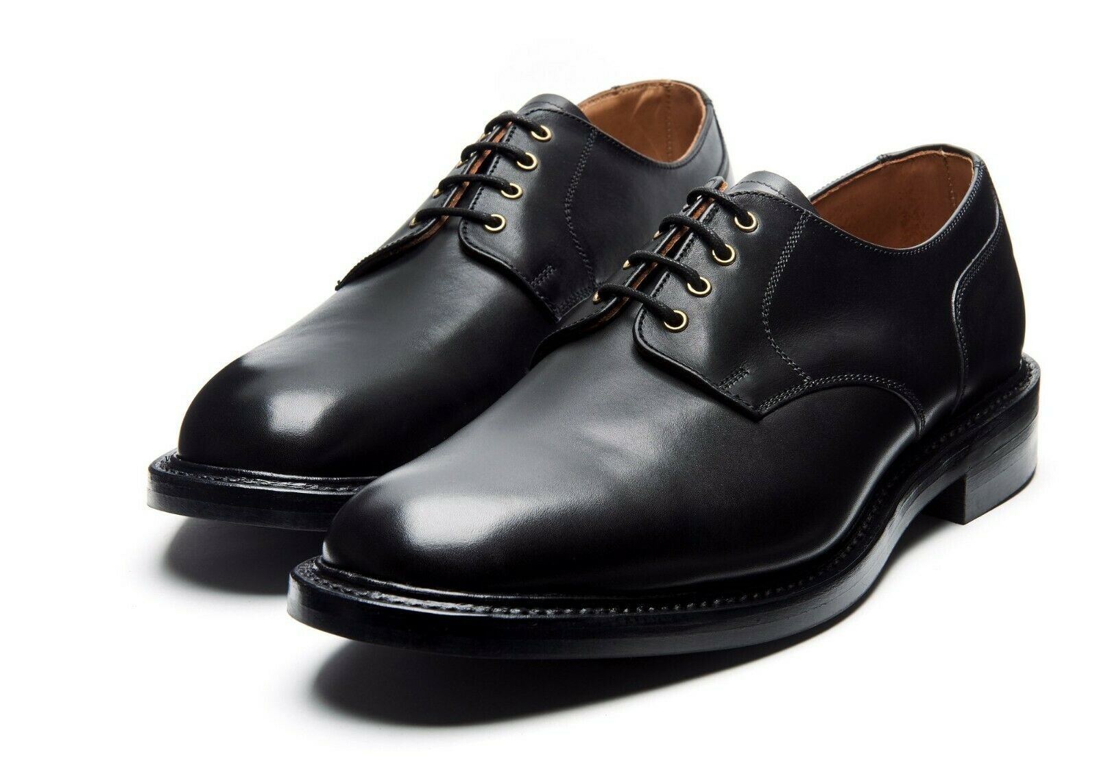 Solovair NPS Heritage BLAIR Black 4 Eyelet Gibson Shoe Leather Sole Made In England