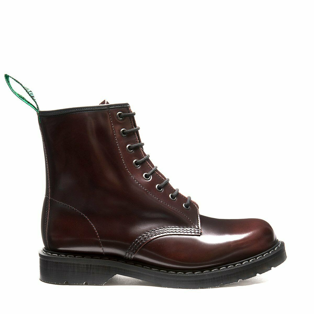 Solovair Burgundy Rub Off 8 Eyelet Boot Made In England