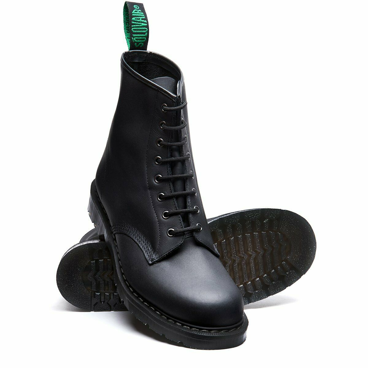 Solovair Black Greasy 8 Eyelet Boot Made In England