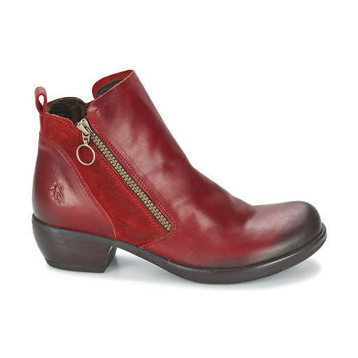Fly London Ladies Boots Meli Red Ankle Boot Zip Made In Portugal
