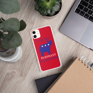 I am the Elephant in the Room Blue iPhone Case