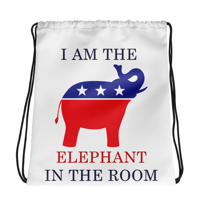 I am the Elephant in the Room Drawstring bag