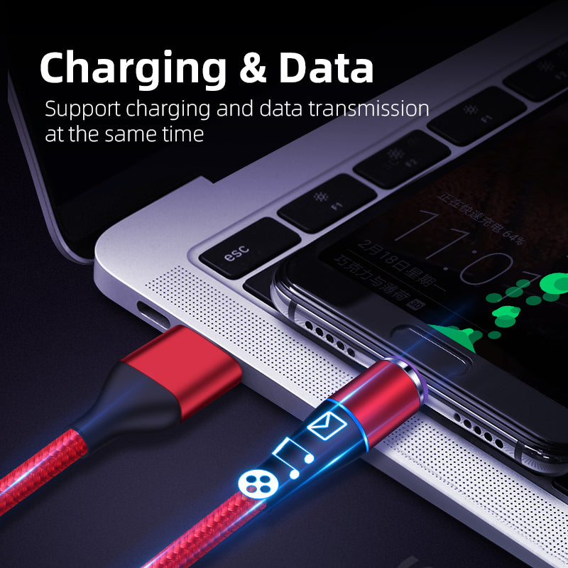 Magnetic Charging Cable 3-in-1 Nylon Braided Cord