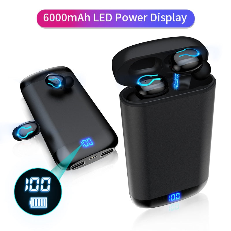 Wireless V5.0 Bluetooth Earphone HD Stereo and 6000mAh Battery Charge Case