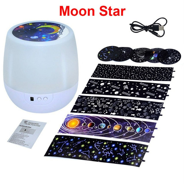 Colorful Starry Sky Projector Night Light Rotation Starry Moon Night Lamp USB Charging For Birthday Gift Romantic Baby Children