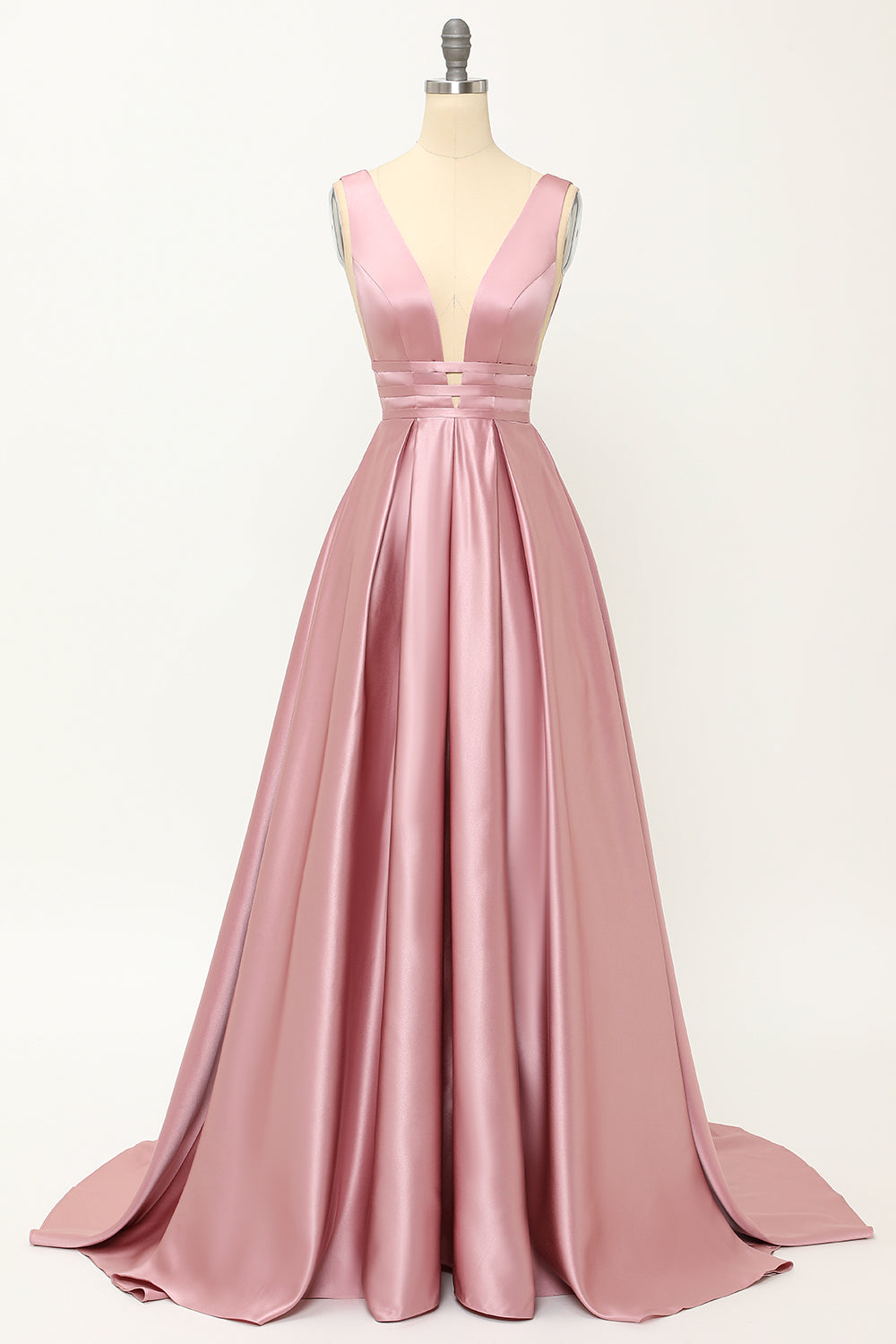 Blush Satin langes Ballkleid