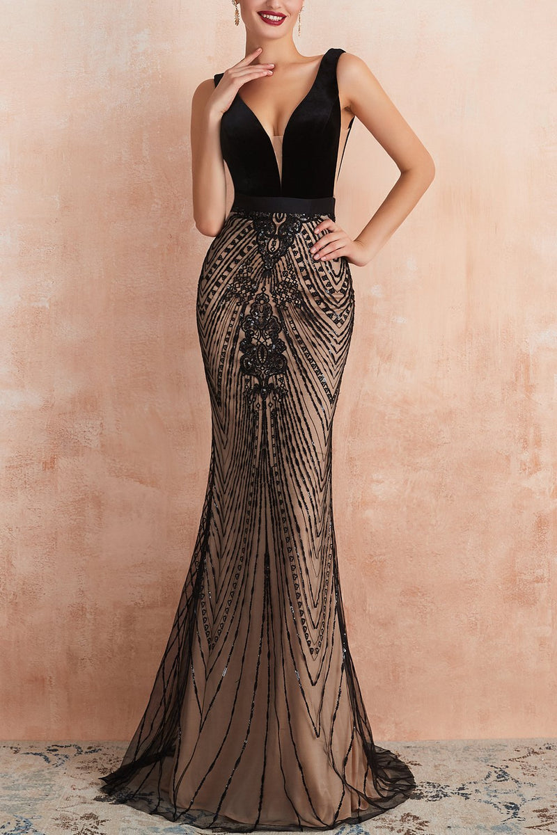 Laden Sie das Bild in den Galerie-Viewer, Mermaid Pailletten Schwarzes Abendkleid