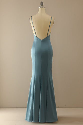 Mermaid Blau V-Ausschnitt Langes Ballkleid