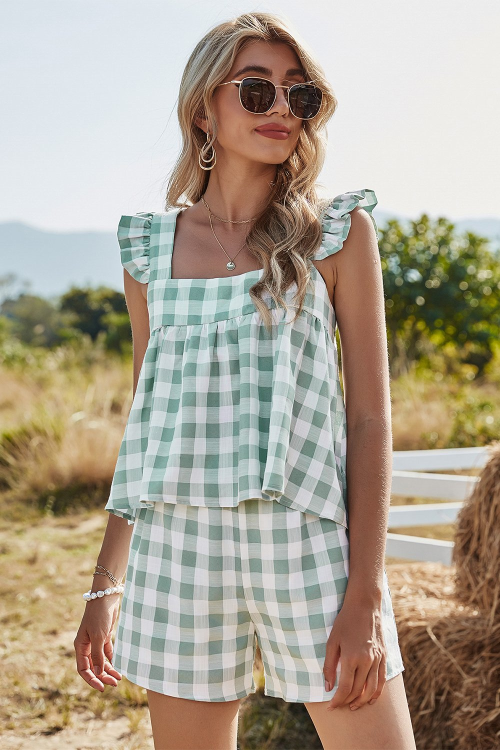 Plaid Eckiger Hals Sommer Top & Kurz